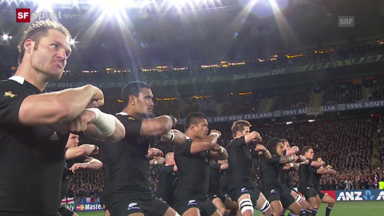 Rugby: Der «Haka» der Neuseeländer vor dem WM-Final 2011