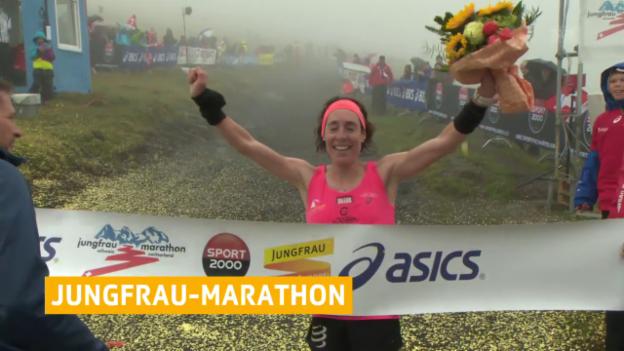 Video «Mathys läuft am Jungfrau-Marathon Streckenrekord» abspielen