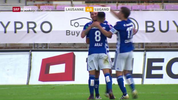 Video «Lausannes Höhenflug geht auch gegen Lugano weiter» abspielen
