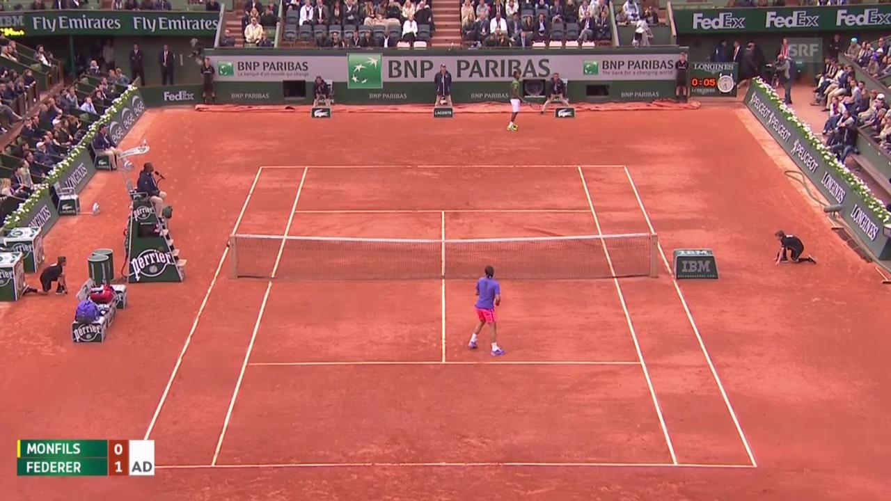 Tennis: French Open 2015, Achtelfinal Federer - Monfils, entscheidende Punkte bis zum Unterbruch der Partie