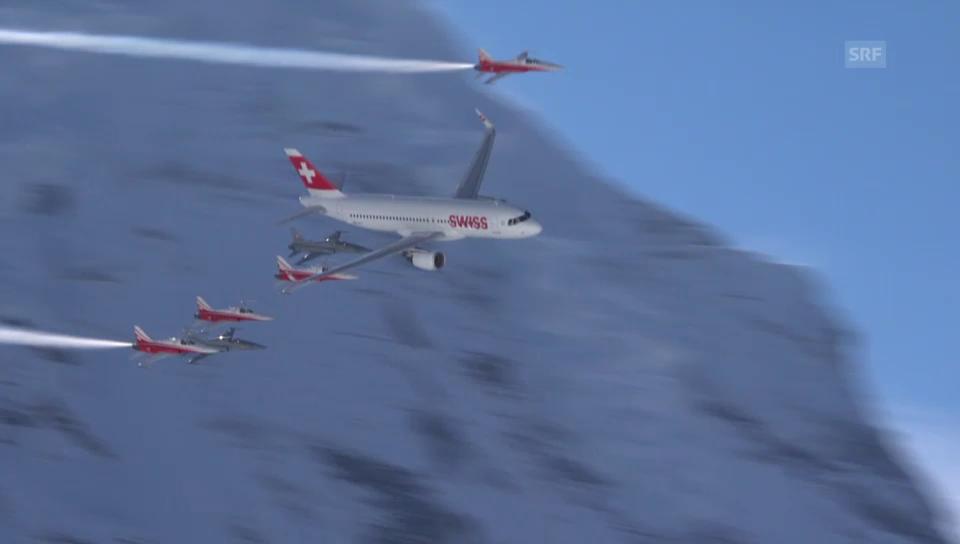 Swiss-Airbus 320 am Lauberhorn