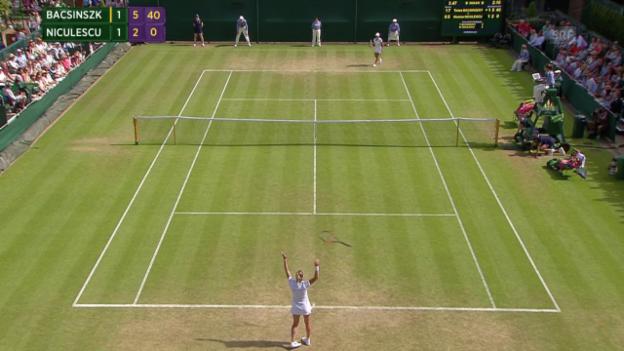 Video «Tennis: Wimbledon Achtelfinal, Bacsinszky - Nibulescu, Matchball» abspielen