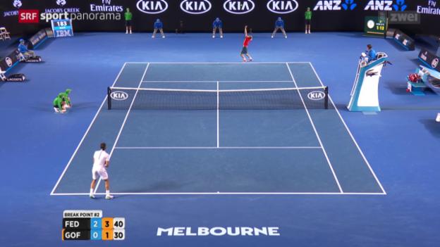 Video «Federer besiegt Goffin im Eilzugtempo» abspielen