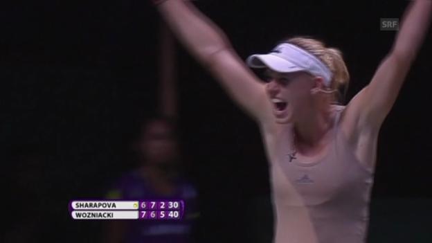 Video «Tennis: WTA Finals, Wozniacki-Scharapowa, Schlussphase» abspielen