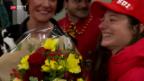 Video «Olympia-Siegerin in Genf empfangen» abspielen