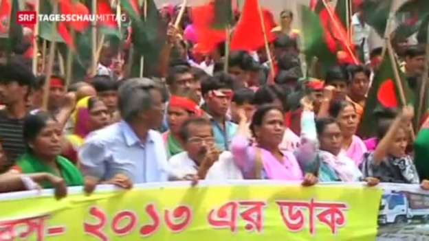 Video «Demonstrationen in Bangladesch» abspielen