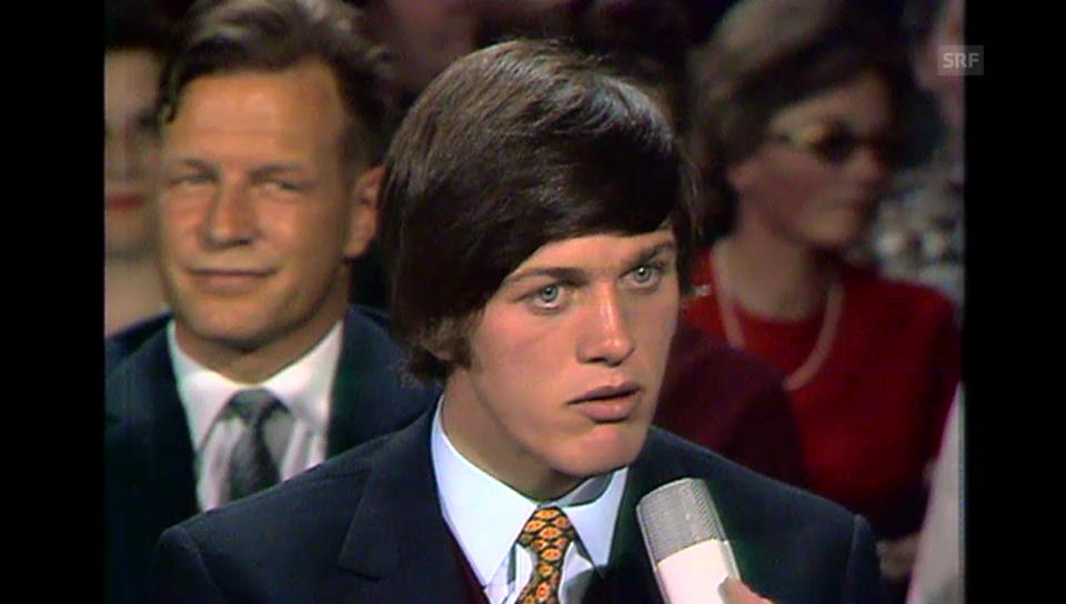 Bernhard Russi wird ein gefragter TV-Gast «Dopplet oder nüt («Dopplet oder nüt» vom 21.5.1970)