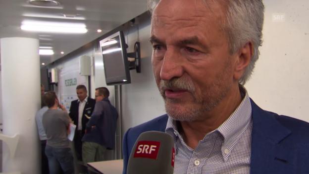 Video «Fussball: Super League, St. Gallen-Präsident Dölf Früh zum neuen Trainer Joe Zinnbauer» abspielen