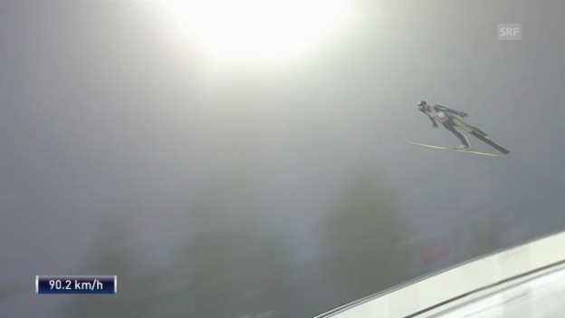 Video «Skispringen: Weltcup in Falun, 1. Sprung Gregor Deschwanden» abspielen