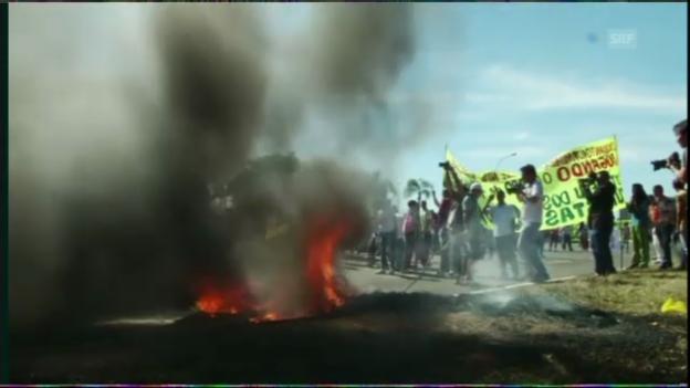 Video «Fussball: Proteste vor Confed Cup in Brasilia» abspielen