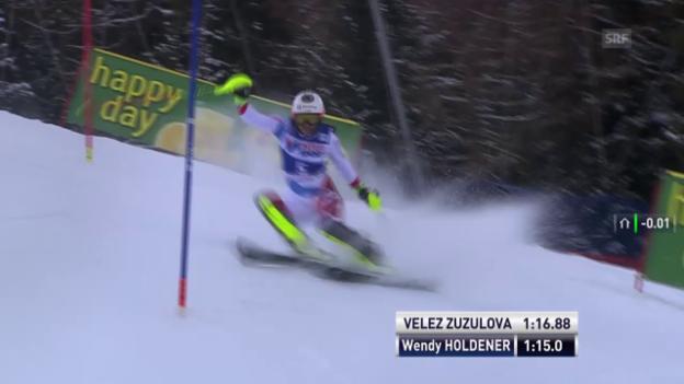 Video «Ski: Slalom Frauen, Santa Caterina, 2. Lauf Wendy Holdener» abspielen