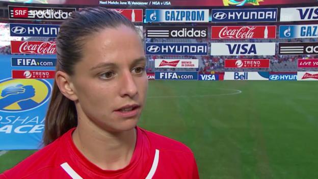 Video «Fussball: Frauen-WM, Schweiz-Ecuador, Interview Fabeinne Humm» abspielen