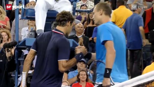 Video «Federer scheitert in New York an Berdych» abspielen