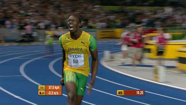 Video «Bolts WM-Gold über 200 m 2009 in Berlin» abspielen