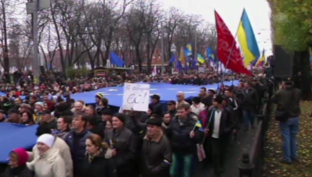 Video «Protestmarsch in Kiew (unkommentiert)» abspielen