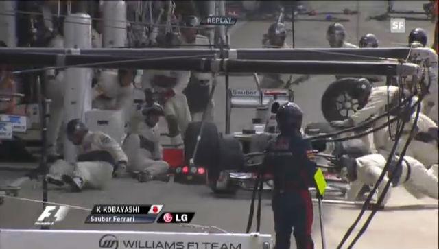 Kobayashi verletzt bei einem Boxenstopp drei Mechaniker.