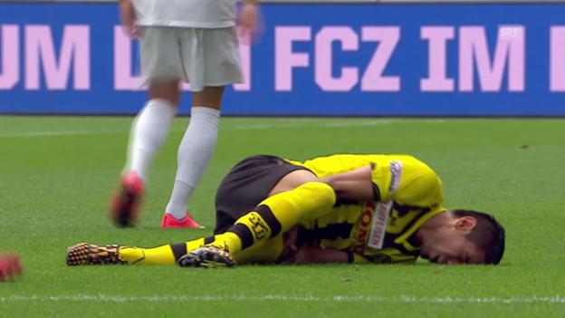 Video «Fussball: Zarate verletzt sich gegen den FCZ» abspielen