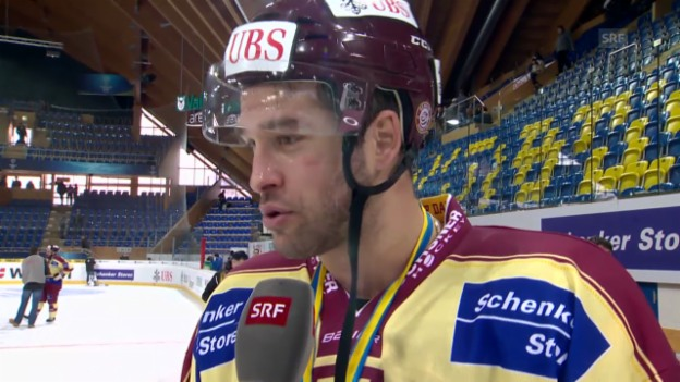 Video «Eishockey, Spengler Cup: Servette-Captain Bezina nach dem Final («sportlive», 31.12.13)» abspielen