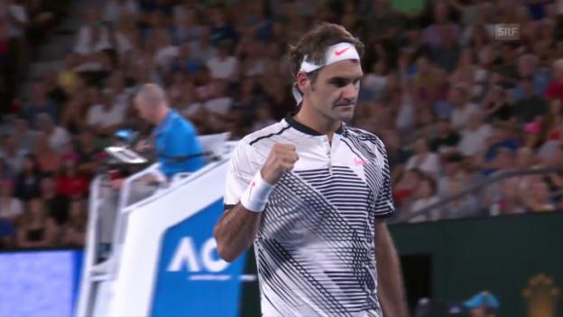Video «Federer zermürbt Nishikori in 5 Sätzen» abspielen