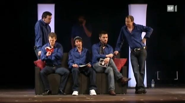 Video «Sechs junge Männer «spielen» Eurovision» abspielen