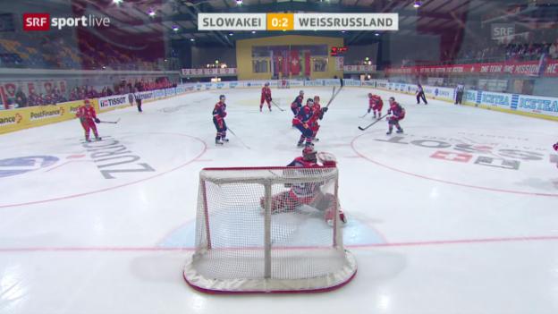 Video «Eishockey: Arosa Challenge, Slowakei - Weissrussland» abspielen