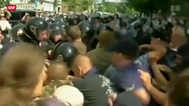 Krawalle nach Demonstrationen in Kiew.