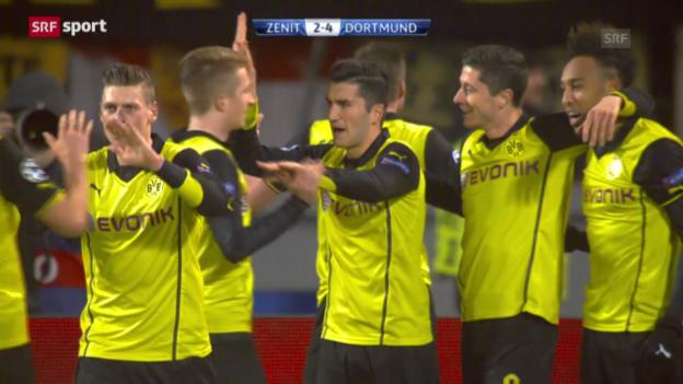 Video «Fussball: Die zwei Treffer von Robert Lewandowski gegen Zenit St. Petersburg (sportlive, 26.2.2014)» abspielen