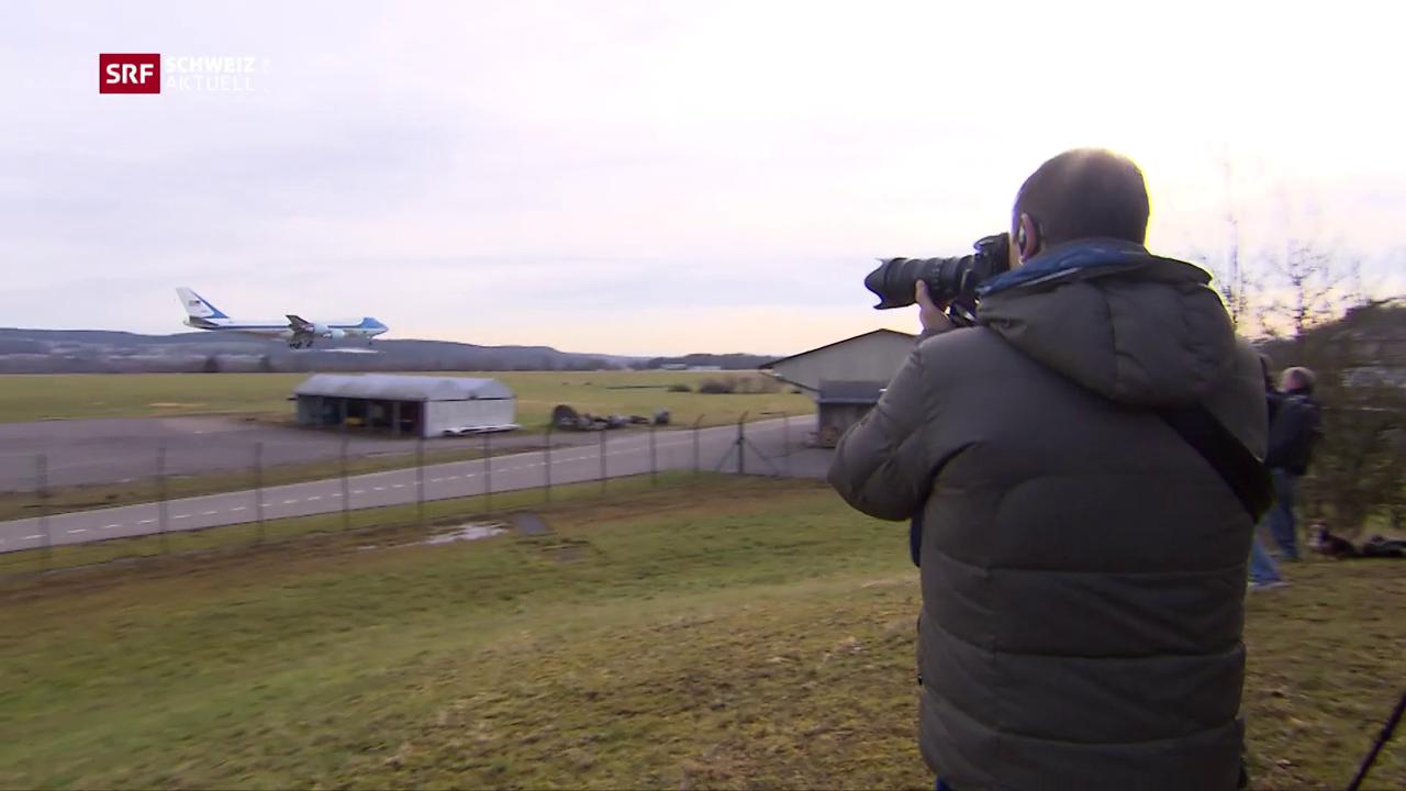 Der Präsident im Anflug, die Fotografen bereit