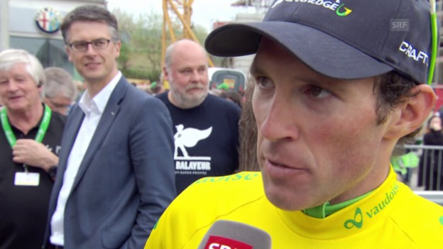 Video «Rad: Tour de Romandie, 3. Etappe, Michael Albasini im Siegerinterview» abspielen