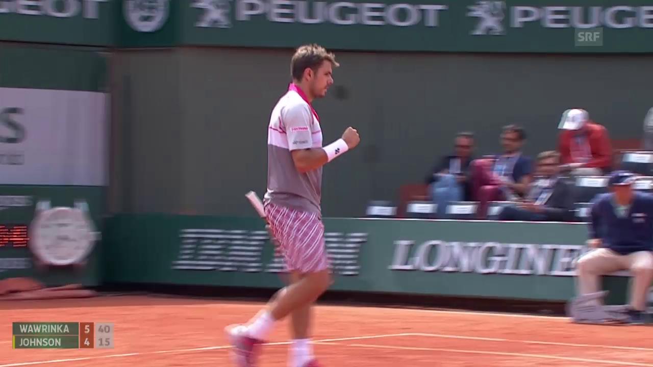 Tennis: French Open 3. Runde, Wawrinka - Johnson