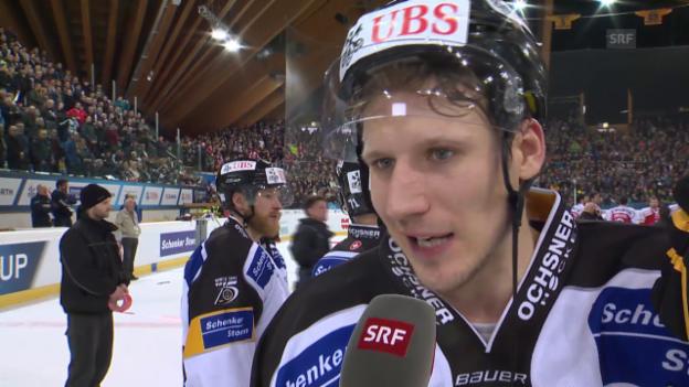 Video «Eishockey: Spengler Cup, Final, Interview Damien Brunner» abspielen