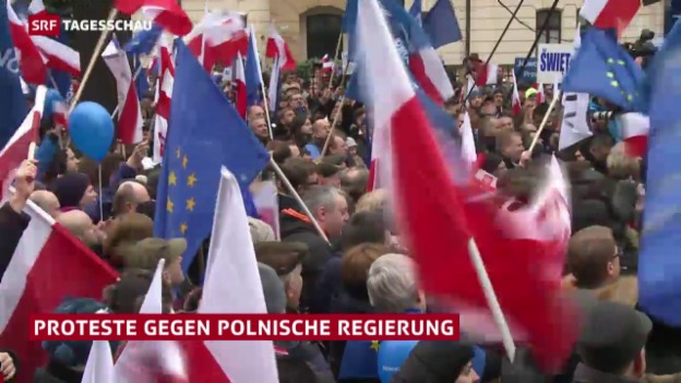 Video «Demonstrationen in Polen» abspielen