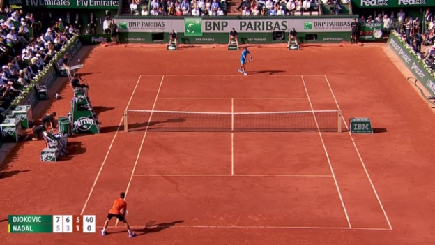 Video «Tennis: French Open, Djokovic - Nadal, Satzball» abspielen