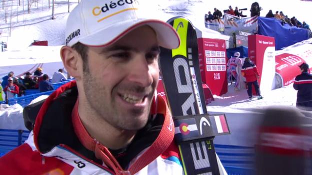 Video «Ski: WM 2015 Vail/Beaver Creek, Super-G Männer, Bronzegewinner Adrien Theaux im Interview (französisch)» abspielen
