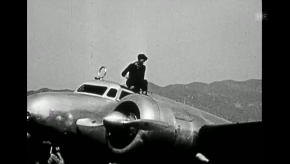 Amelia Earhart vor dem Flug (Stummfilm s/w)